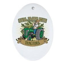 Still Plays with Green Tractors Ornament (Oval)