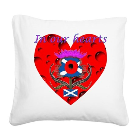 In our hearts military heros Square Canvas Pillow