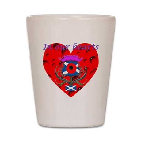 In our hearts military heros Shot Glass