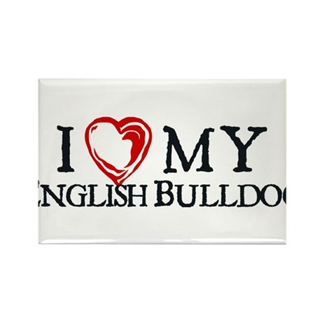 I Heart My English Bulldog Rectangle Magnet