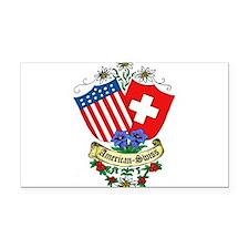 American Swiss Crest Rectangle Car Magnet