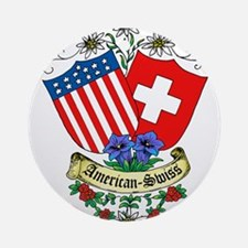 American Swiss Crest Ornament (Round)