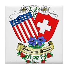 American Swiss Crest Tile Coaster