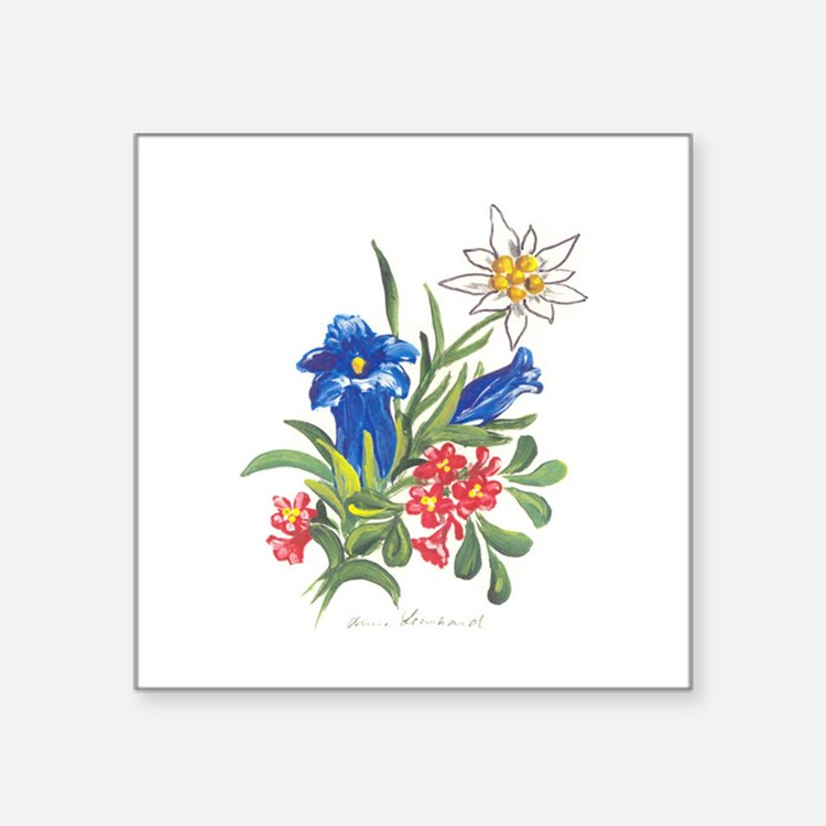 "alpine-flowers3.jpg Square Sticker 3"" x 3"""