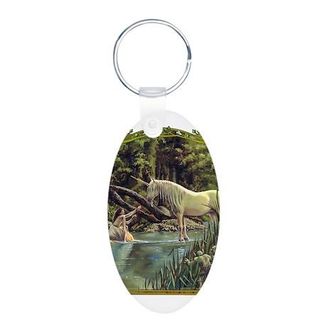 Unicorn Aluminum Oval Keychain