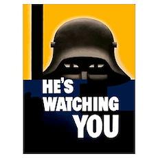 Digitally restored vector war propaganda poster.He Poster