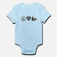 Peace, Love Cheer zebra print Infant Bodysuit