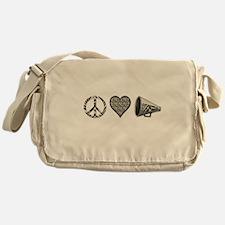 Peace, Love Cheer zebra print Messenger Bag