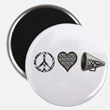 Peace, Love Cheer zebra print Magnet