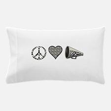 Peace, Love Cheer zebra print Pillow Case