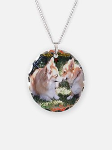 Happy Holidays Corgi Greeting Necklace