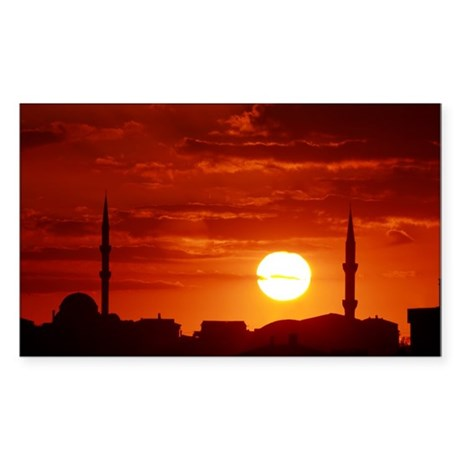 Red sunset scene with mosque and minarets Sticker
