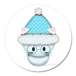 Cute Kitten in Winter Hat Round Car Magnet