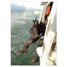 A search and rescue swimmer student jumps from a M Poster