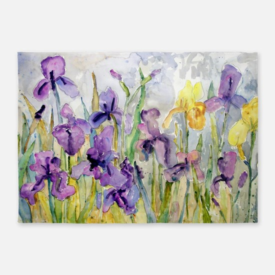 Purple and Yellow Iris Romantic Ruffles 5'x7'Area