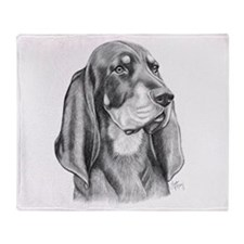 Black and Tan Coon Hound Throw Blanket