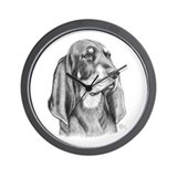 Black and tan coonhound Wall Clocks