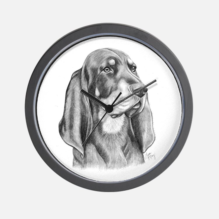 Black and Tan Coon Hound Wall Clock