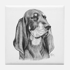 Black and Tan Coon Hound Tile Coaster