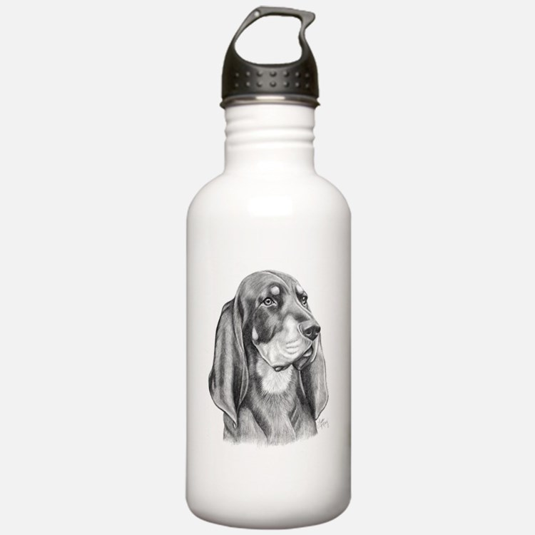 Black and Tan Coon Hound Water Bottle