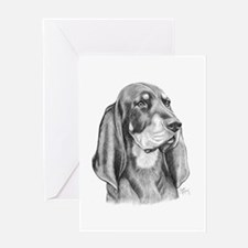 Black and Tan Coon Hound Greeting Card