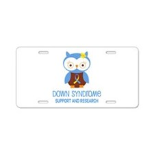 Down Syndrome Support Owl Aluminum License Plate