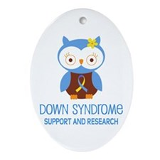 Down Syndrome Support Owl Ornament (Oval)
