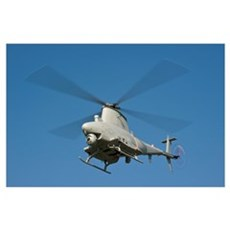 An MQ-8B Fire Scout unmanned aerial vehicle in fli Poster