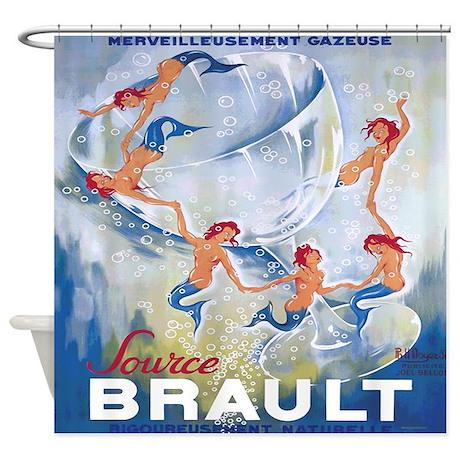 Vintage Mermaid Champagne Shower Curtain By Rebeccakorpita