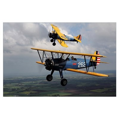 Boeing Stearman Model 75 Kaydet in U.S. Army color Poster