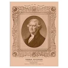 Digitally restored artwork of President Thomas Jef Poster