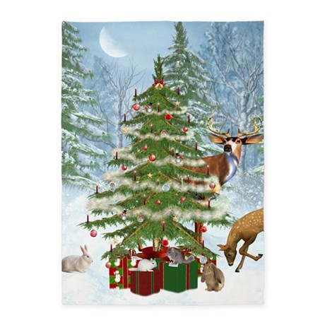 Christmas In The Forest 5'x7'Area Rug
