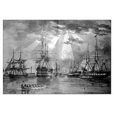 Digitally restored vector photo of U.S. Naval Ship Poster