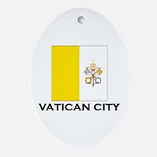 Vatican City Flag Stuff Oval Ornament