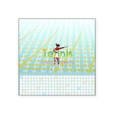 "TOP Tennis Slogan Square Sticker 3"" x 3"""