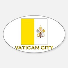Vatican City Flag Gear Oval Decal