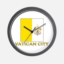 Vatican City Flag Gear Wall Clock