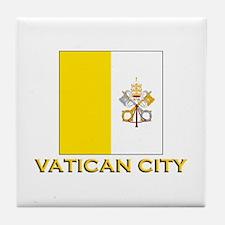 Vatican City Flag Gear Tile Coaster