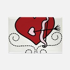 Heart With Bow Rectangle Magnet