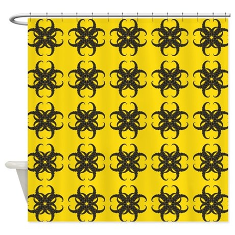 yellow and black tribal pattern shower curtain by hippygiftshop. Black Bedroom Furniture Sets. Home Design Ideas
