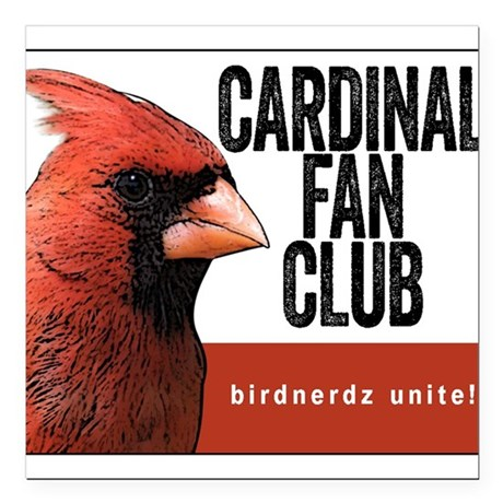 "Cardinal Fan Club Square Car Magnet 3"" x 3"""