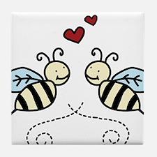 Valentine Bees Tile Coaster