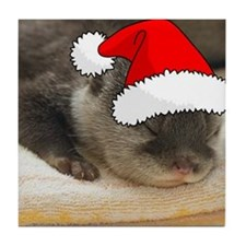 Christmas Otter Tile Coaster