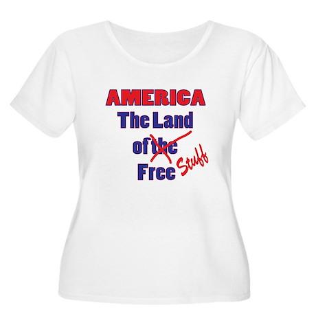 Land of Free Stuff Women's Plus Size Scoop Neck T-