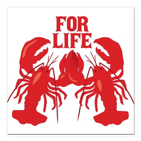 """Lobsters Mate For Life Square Car Magnet 3"""" x 3"""""""