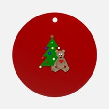 Bear with Christams Tree Ornament (Round)