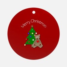 Merry Christmas Bear w/ Tree Ornament (Round)