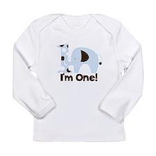 Im ONE Blue elephant Long Sleeve Infant T-Shirt