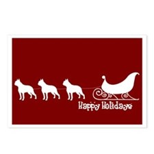 "Boston Terrier ""Sleigh"" Postcards (Package of 8)"
