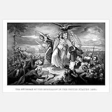 Digitally restored vintage Civil War print of Lady